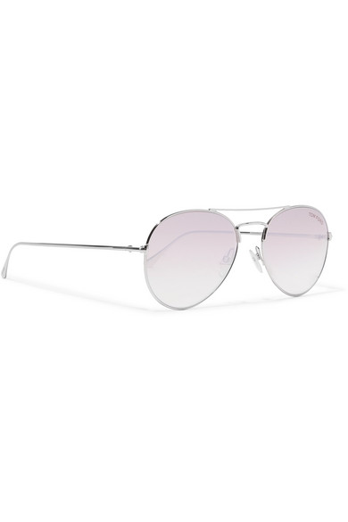Aviator Style Silver Tone Mirrored Sunglasses by Tom Ford