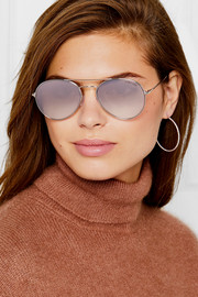 TOM FORD Aviator-style silver-tone mirrored sunglasses