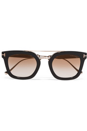 TOM FORD Square-frame acetate and gold-tone sunglasses