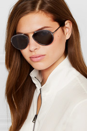 TOM FORD Aviator-style gunmetal-tone mirrored sunglasses