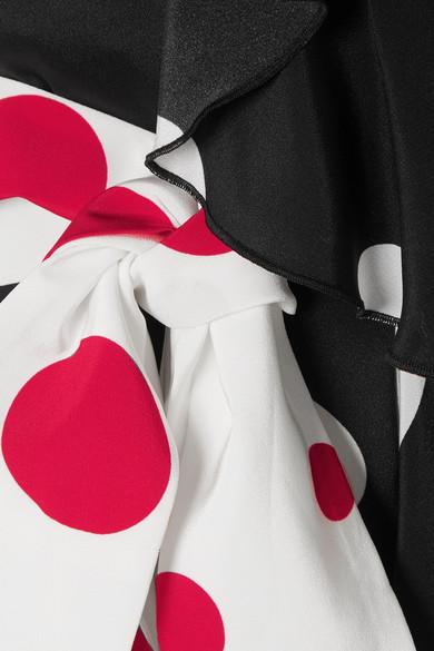 Racil Geisha gewickeltes Maxikleid aus Crêpe de Chine aus Seide mit Polka-Dots und Volants