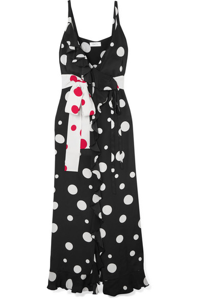 Racil - Geisha Ruffled Polka-dot Silk Crepe De Chine Wrap Maxi Dress - Black