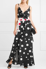Geisha ruffled polka-dot silk crepe de chine wrap maxi dress
