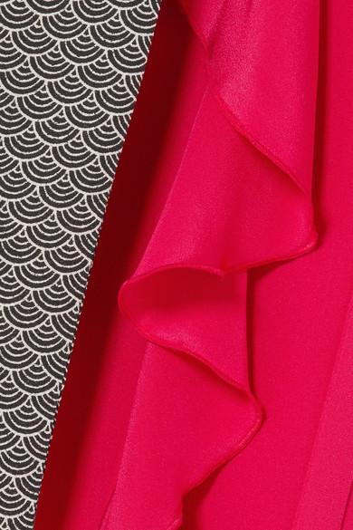 Racil Geisha Wickelkleid aus Crêpe de Chine aus Seide in Maxilänge mit Volants