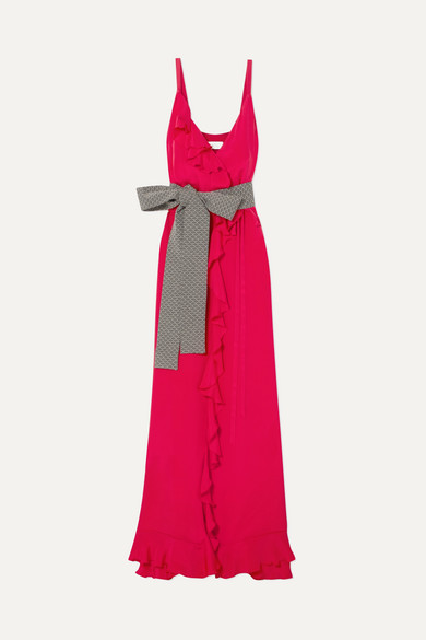 Racil - Geisha Ruffled Silk Crepe De Chine Wrap Maxi Dress - Red