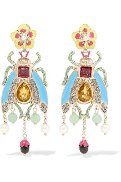 Enameled Gold Tone Multi Stone Earrings by Etro
