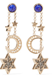 Enameled gold-tone crystal earrings