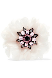 Silk-organza crystal brooch