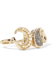 Gold-tone, crystal, enamel and faux pearl two-finger ring