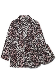 Jude L and Audrey H leopard-print satin pajama set