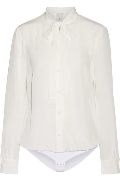 Tuxe Bodywear - The Boss Pussy-bow Silk Crepe De Chine Bodysuit - Ivory