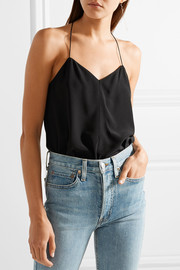The Doyenne silk crepe de chine and stretch-jersey bodysuit