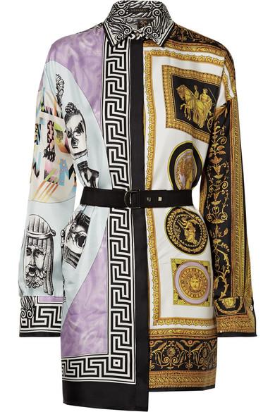 Versace Minikleid aus bedrucktem Twill aus Seidensatin mit Gürtel