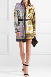 Belted printed silk-satin mini dress