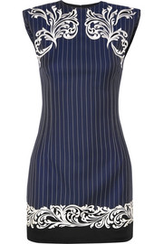Versace Satin-trimmed embroidered pinstriped wool mini dress