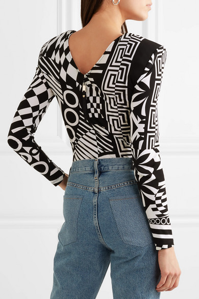 Versace Body aus bedrucktem Jersey mit Mesh-Besatz