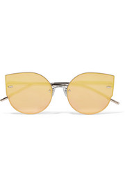 Ami Adam cat-eye rose gold-tone mirrored sunglasses