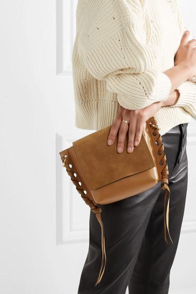 Isabel Marant Kleny Schultertasche aus Leder und Veloursleder mit Details im Überwendlichstich