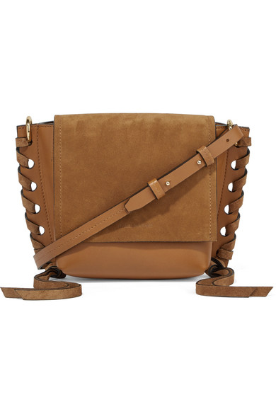 Isabel Marant Kleny Whipsched Leather And Suede Shoulder Bag Net A Porter Com