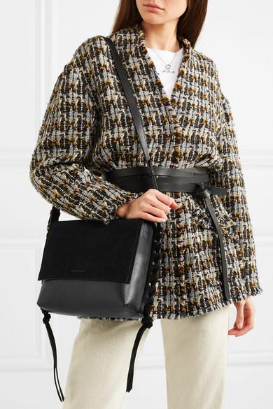 Isabel Marant Asli Schultertasche aus Leder und Veloursleder mit Details im Überwendlichstich
