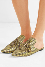 Ragno embroidered metallic fil coupé canvas slippers