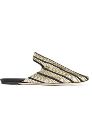 Riga striped metallic woven canvas slippers