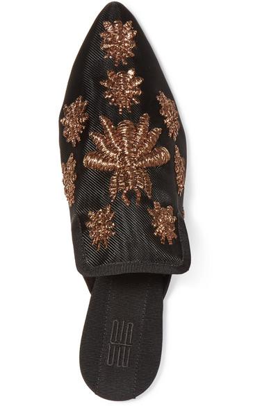 Sanayi 313 Ragno bestickte Slippers aus Mesh