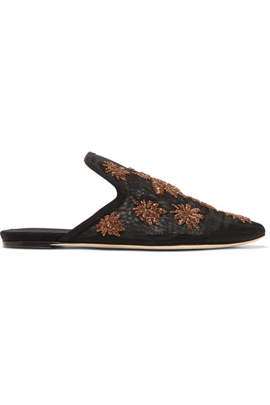 SANAYI313 Ragno Embroidered Mesh Slippers in Black