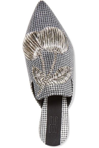 Sanayi 313 Slippers aus Metallic-Satin mit Stickerei