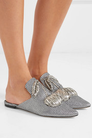 Metallic embroidered satin slippers