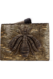 Ragno embroidered metallic woven pouch
