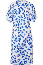 Floral-print silk-twill midi dress