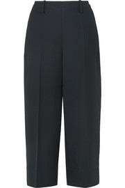Cropped wool-gabardine wide-leg pants