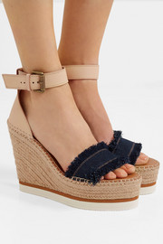 Leather and denim espadrille wedge sandals