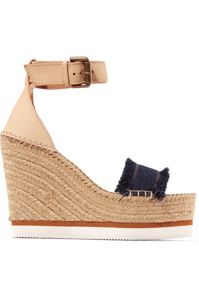 33116903bd6a See By Chloé. Leather and denim espadrille wedge sandals