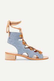 See by Chloé Edna lace-up denim sandals