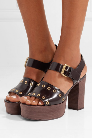 See By Chloé. Nora eyelet-embellished glossed-leather platform sandals 4d62188ad71