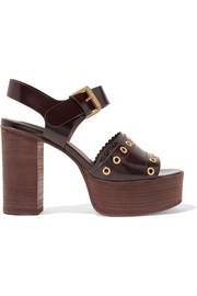 Nora eyelet-embellished glossed-leather platform sandals