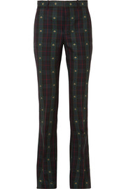 Gucci Embroidered checked wool flared pants