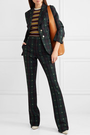 Embroidered checked wool flared pants