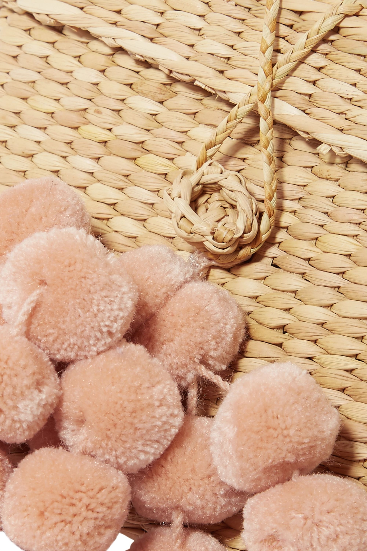 Nannacay Baby Roge pompom-embellished woven raffia tote