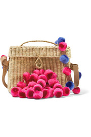 Roge pompom-embellished leather-trimmed woven raffia shoulder bag