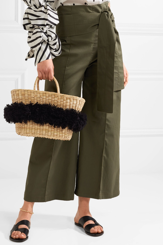 Nannacay Mikonos pompom-embellished woven raffia tote