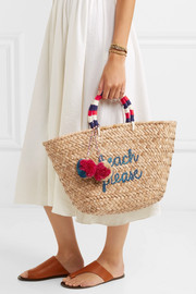 St. Tropez embroidered woven straw tote
