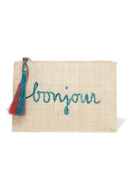 Embroidered woven straw pouch
