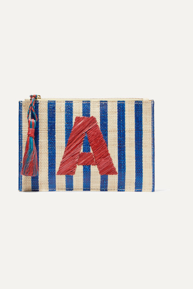 Alphabet Embroidered Striped Woven Straw Pouch by Kayu