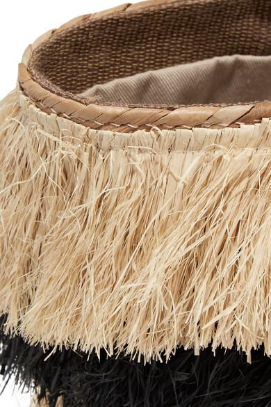 Kayu Pinata mini Tote aus Stroh mit Lederbesatz und Fransen