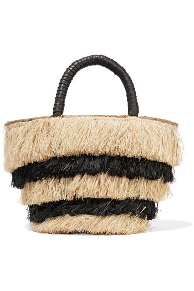 Kayu - Pinata Mini Leather-trimmed Fringed Straw Tote - Black