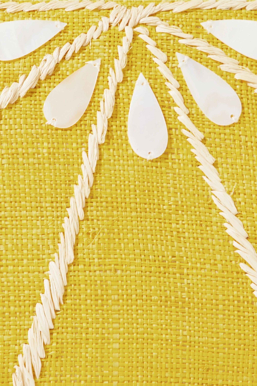 Kayu Limon embellished woven straw clutch