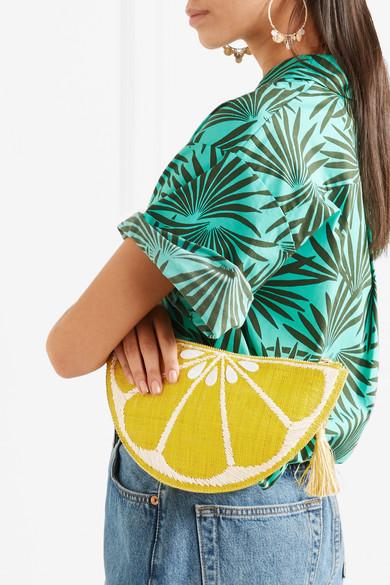 Kayu Limon verzierte Clutch aus geflochtenem Stroh